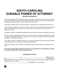 South Carolina Durable Power of Attorney