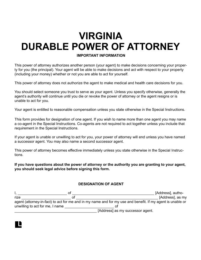 Virginia Durable Power of Attorney