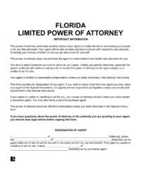 Florida limited (special) power of attorney form