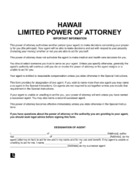 Hawaii limited (special) power of attorney form