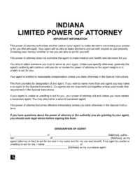 Indiana limited (special) power of attorney form
