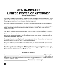 New Hampshire Limited (Special) Power of Attorney
