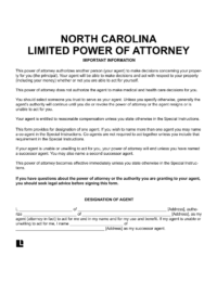 North Carolina Limited (Special) Power of Attorney
