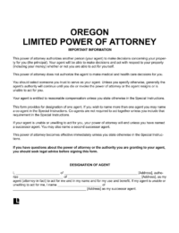 Oregon Limited (Special) Power of Attorney