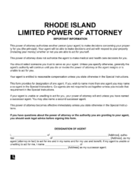 Rhode Island Limited (Special) Power of Attorney