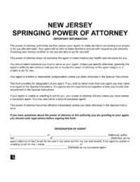 New Jersey Springing Power of Attorney