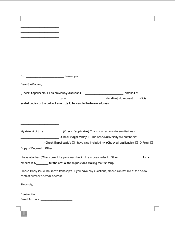 Transcript Request Screenshot
