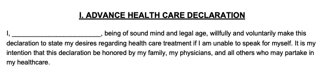 Declaration section of an advance directive form