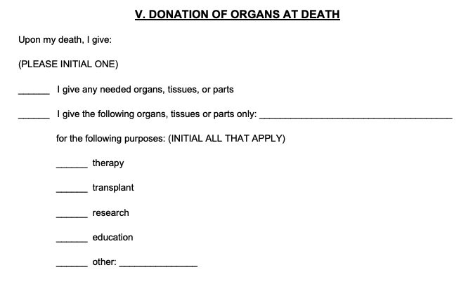 Advance directive donation of organs section