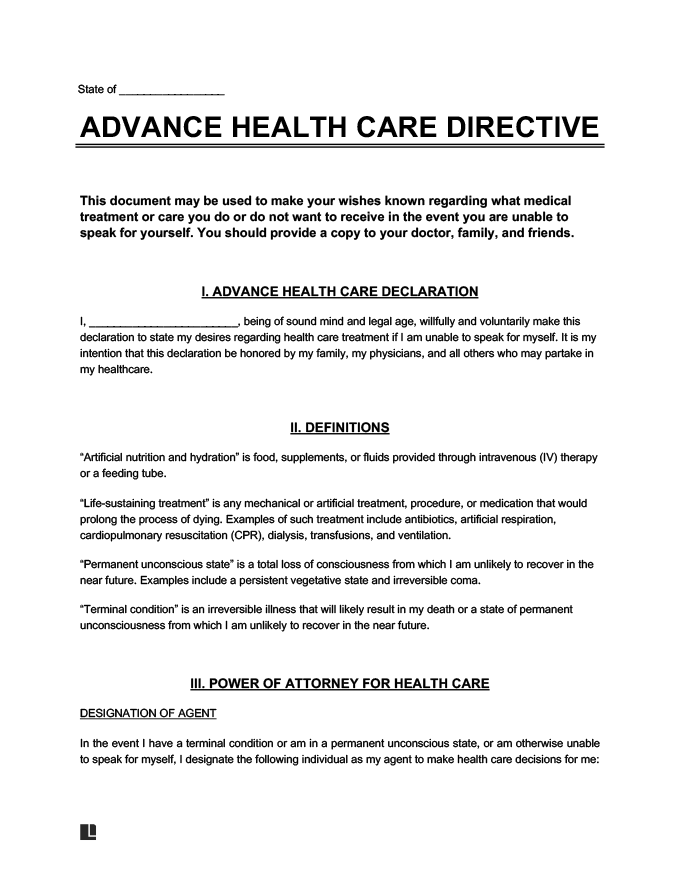 Universal advance directive form and template
