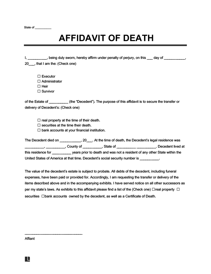 affidavit of death