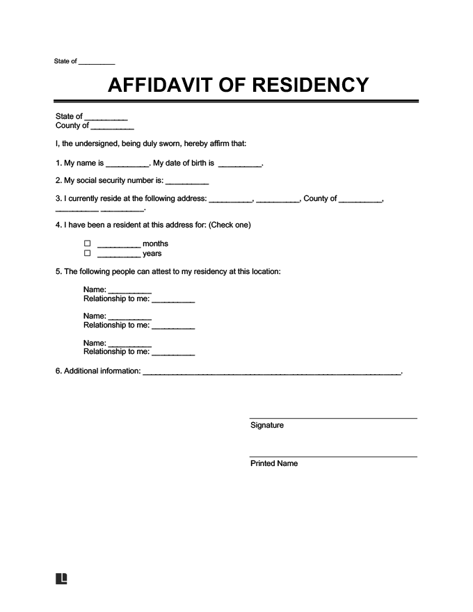 Letter To Verify Residency from legaltemplates.net