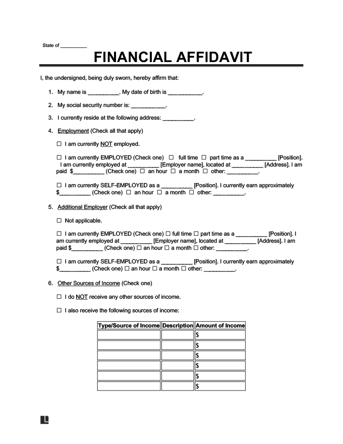 financial affidavit