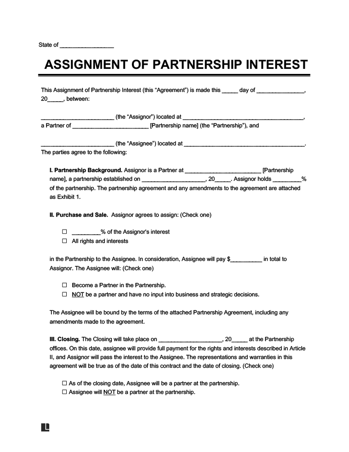 Assignment Of Partnership Interest Legal Templates