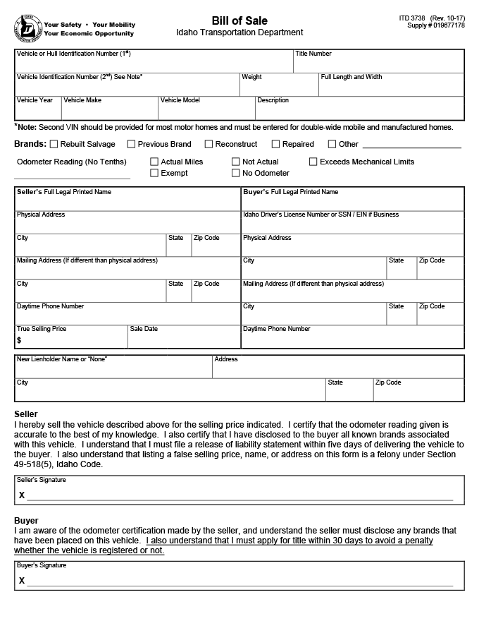 Official Idaho Vehicle Bill of Sale (ITD 3738)