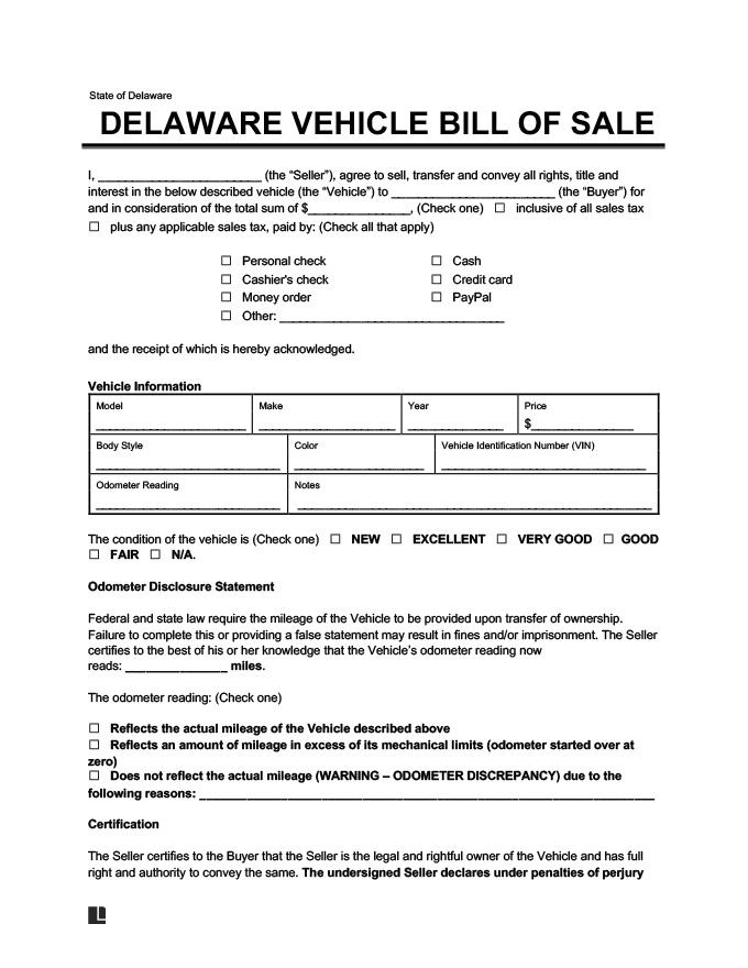 Delaware Vehicle Bill of Sale