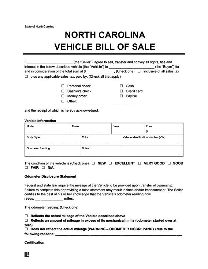 North Carolina Vehicle Bill of Sale