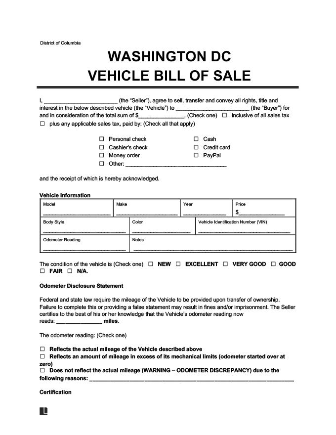 Washington DC Vehicle Bill of Sale