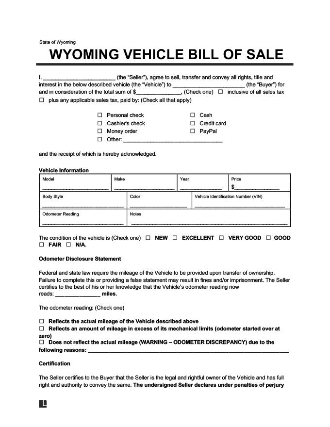 Wyoming Vehicle Bill of Sale