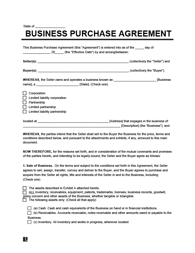 Create a business purchase agreement legal templates for Selling a business contract template free