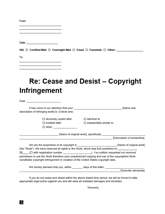 cease and desist copyright infringement letter