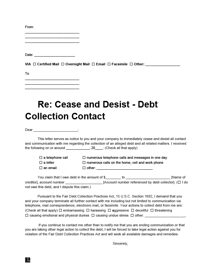 cease and desist debt collection letter