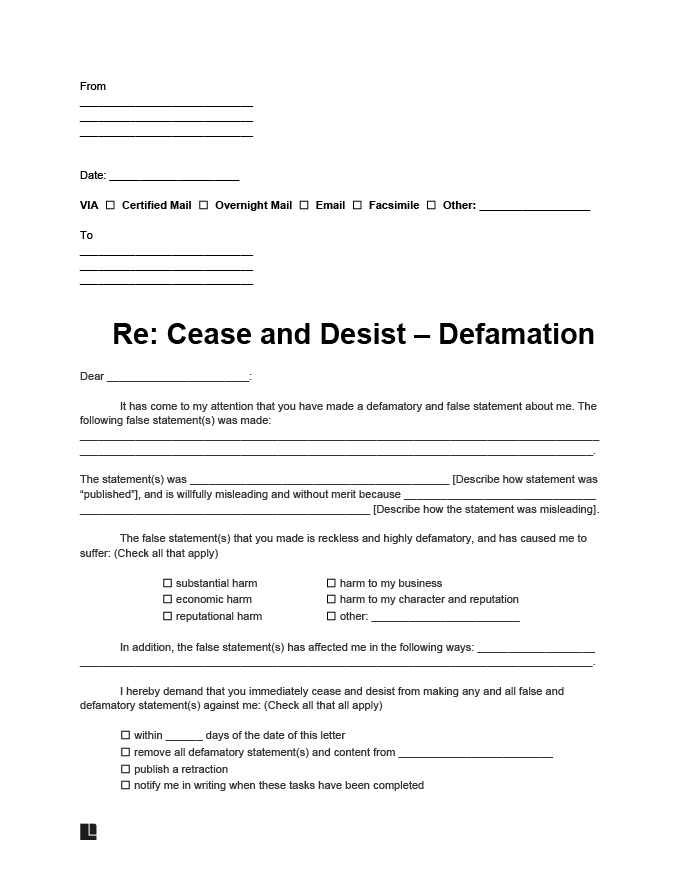 cease and desist defamation letter