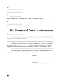 cease and desist letter for harassment