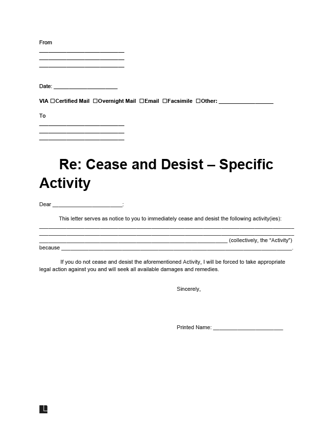 Free Cease And Desist Letter Template Sample Legal Templates