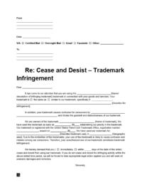 cease and desist letter for trademark infringement