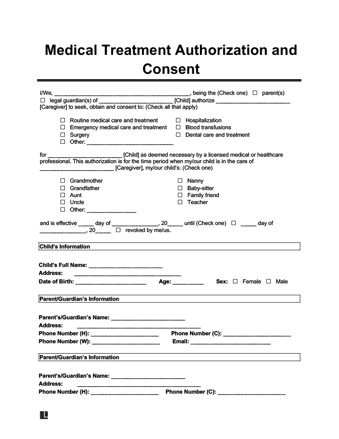 Preview Of Child Medical Consent Form
