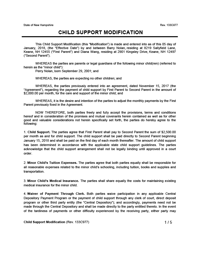 Sample Child Support Modification Letter