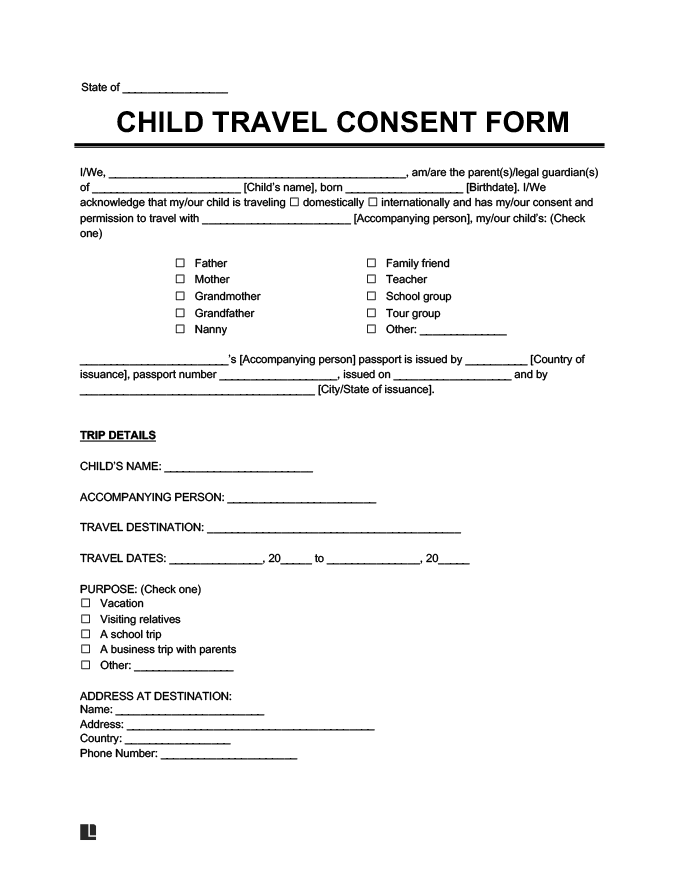 Child Travel Consent Form Create a Letter of Consent – Passport Consent Forms