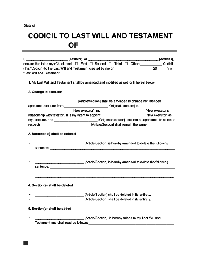 Codicil to last will and testament form