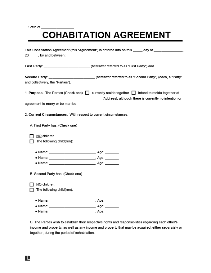 Free Cohabitation Agreement Legal Templates
