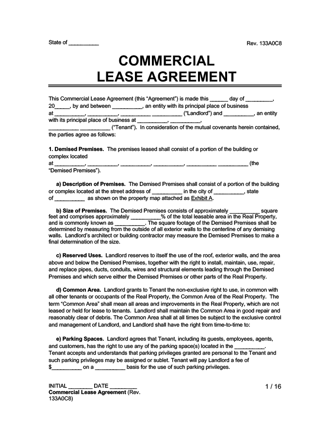sample image of a commercial lease agreement