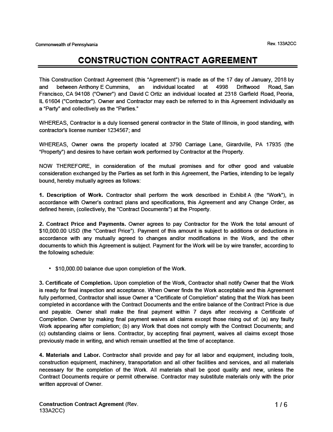 Construction Contract Agreement Sample