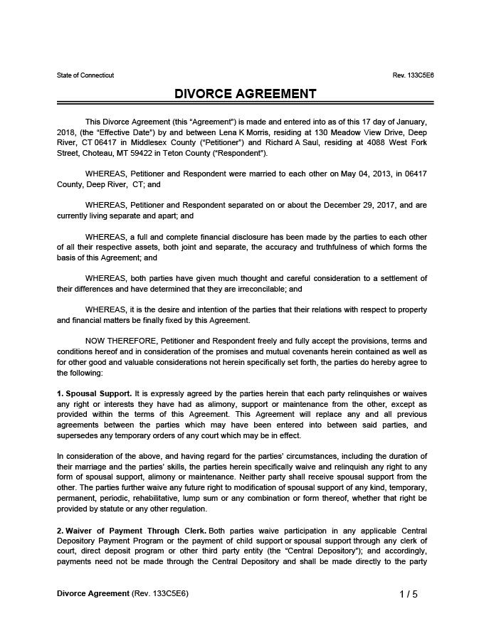 Divorce Agreement Sample