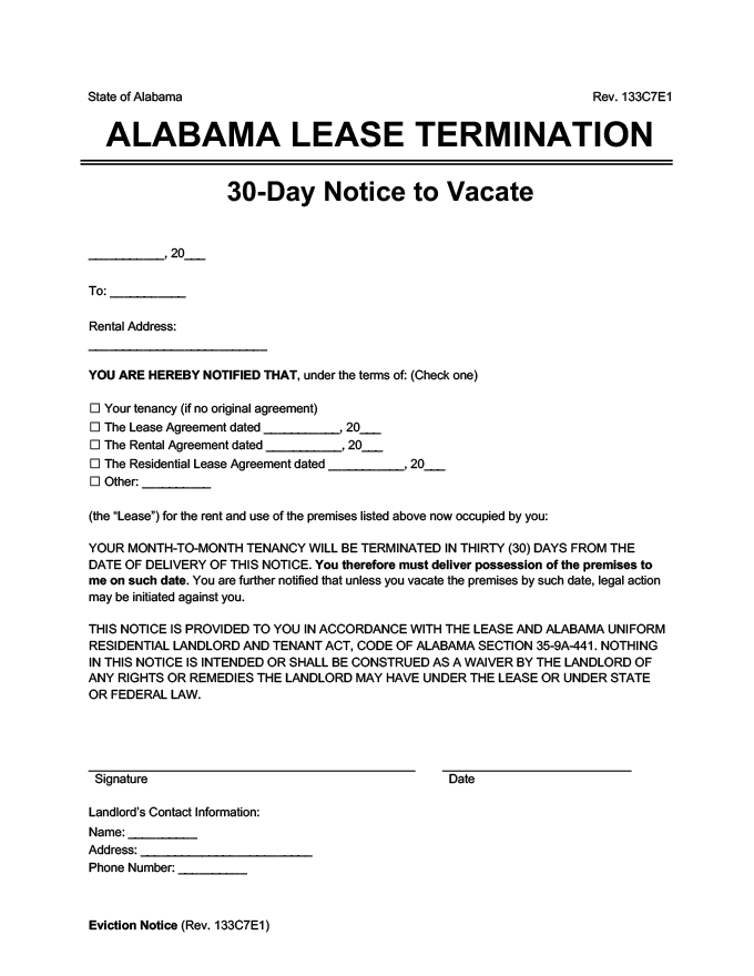 alabama 30 day lease termination