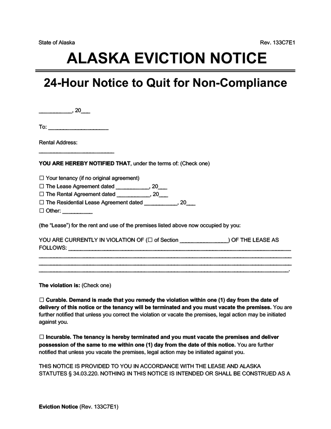 alaska eviction notice 24 hour comply or quit