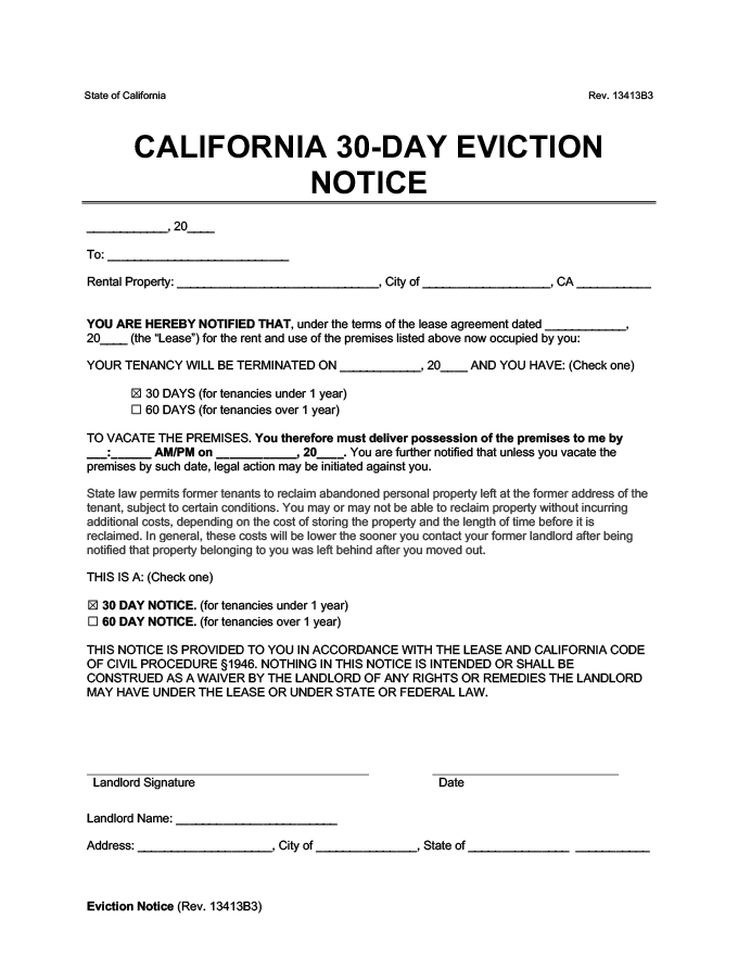 30 day notice to vacate california form