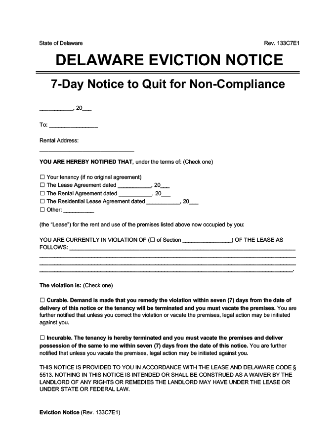 delaware eviction notice 7 day comply or quit