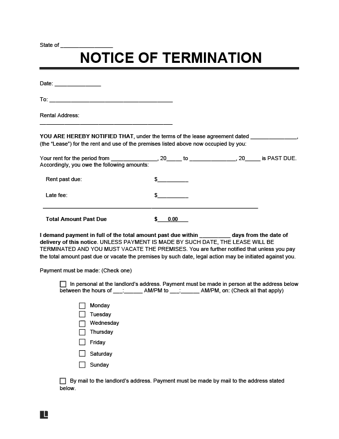 Eviction Notice, Notice to Pay Rent or Quit