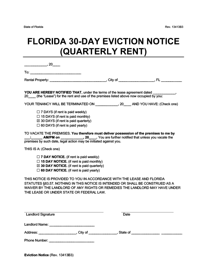 30 day eviction notice florida form