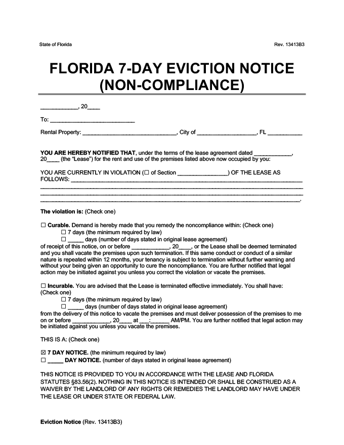 7 day eviction notice for noncompliance florida form