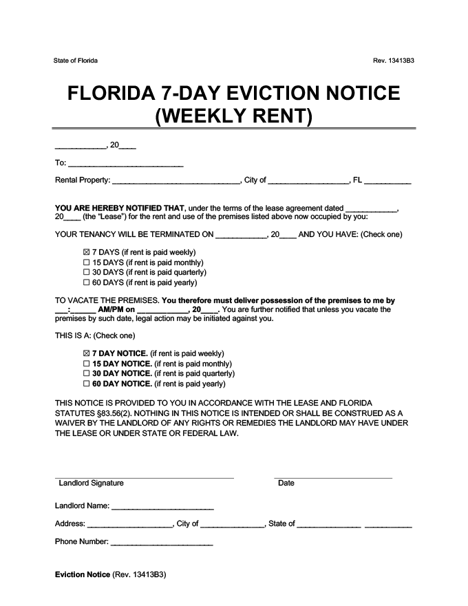 7 day eviction notice florida form