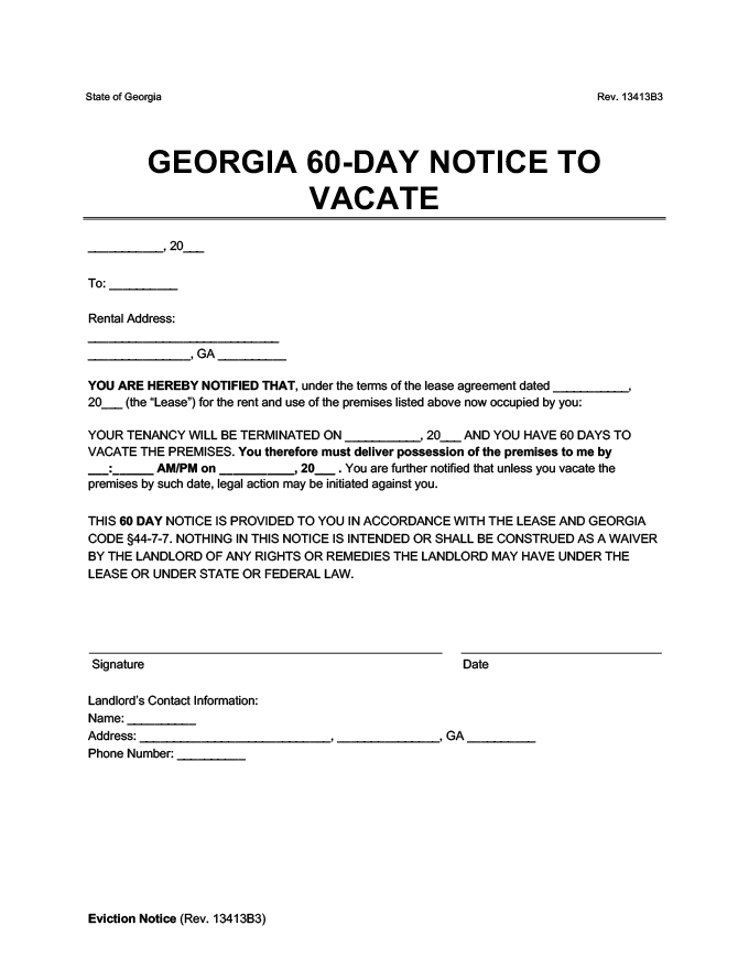 60 day notice to vacate georgia eviction form
