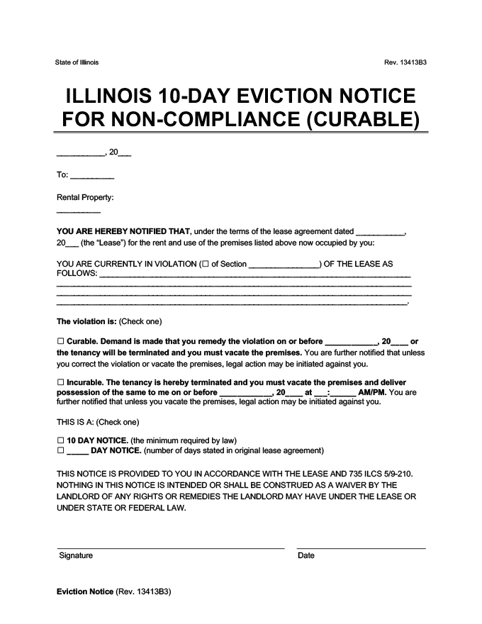 illinois 10 day eviction notice to vacate for noncompliance curable