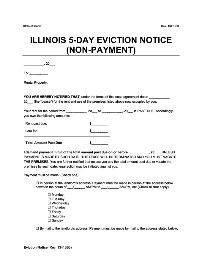 illinois 5 day eviction notice to pay rent or quit form