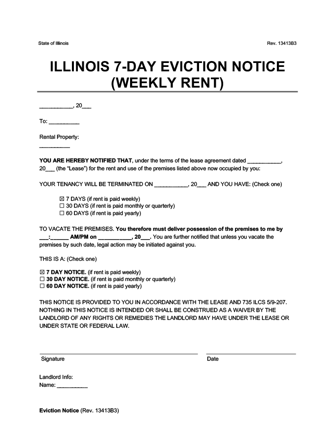 illinois 7 day eviction notice to vacate week to week rent form